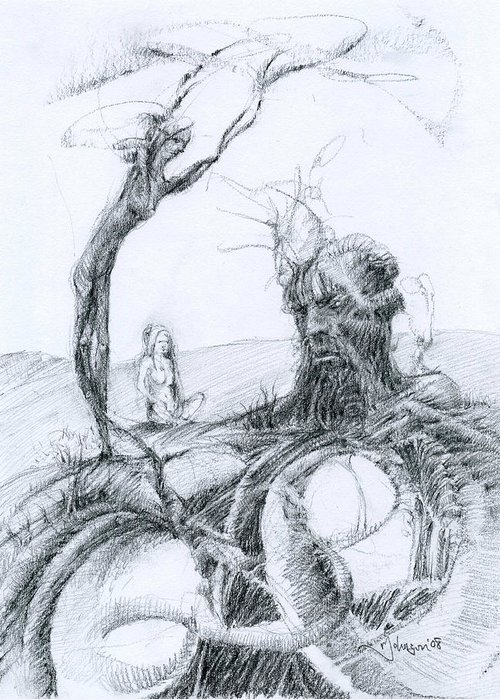 Mark Fine Art Greeting Card featuring the drawing Meditation by Mark Johnson