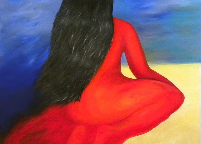 Bright Color Greeting Card featuring the painting Meditation Moment by Fanny Diaz