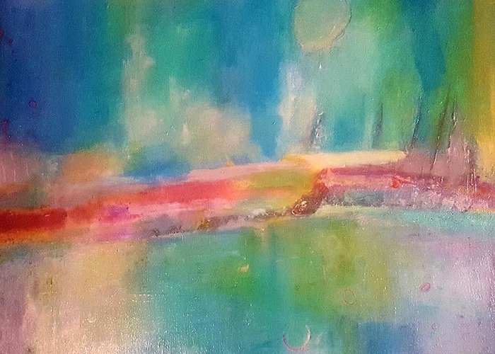 Abstract Greeting Card featuring the painting Mediterranean Dream by Patricia Byron