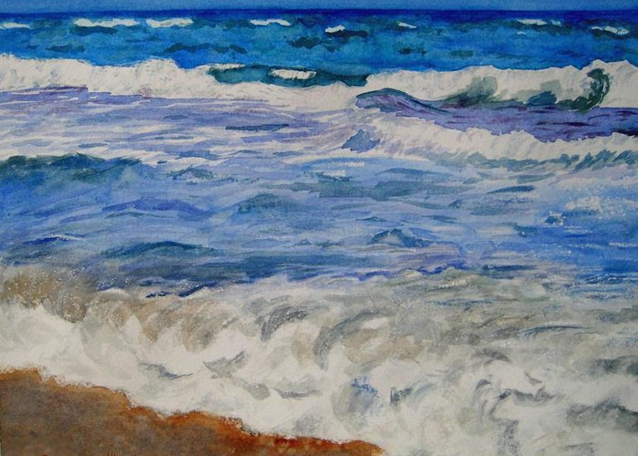 Ocean Greeting Card featuring the painting Mediterranean Sea by Corynne Hilbert