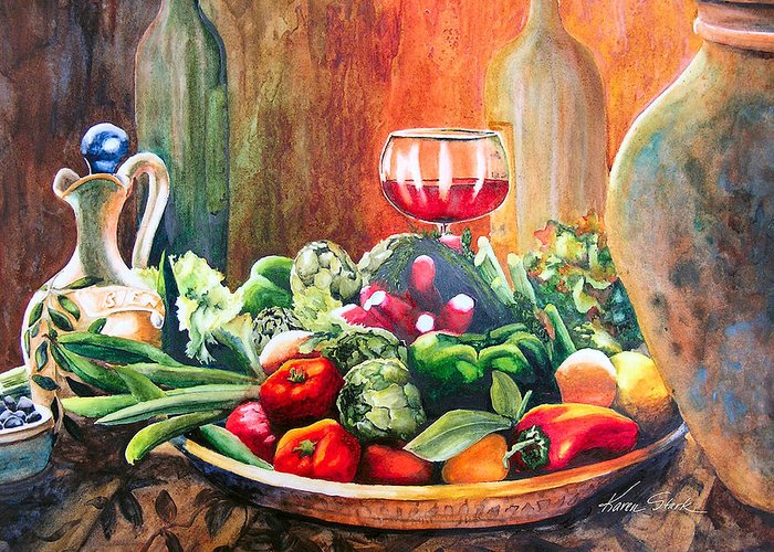 Still Life Greeting Card featuring the painting Mediterranean Table by Karen Stark