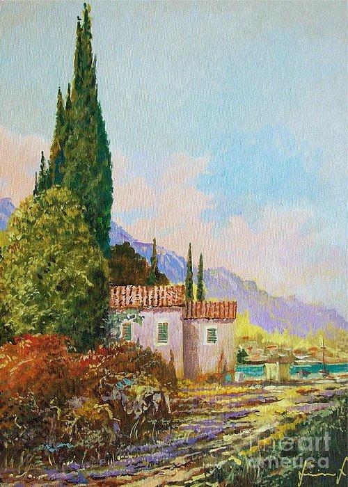 Original Painting Greeting Card featuring the painting Mediterraneo 2 by Sinisa Saratlic