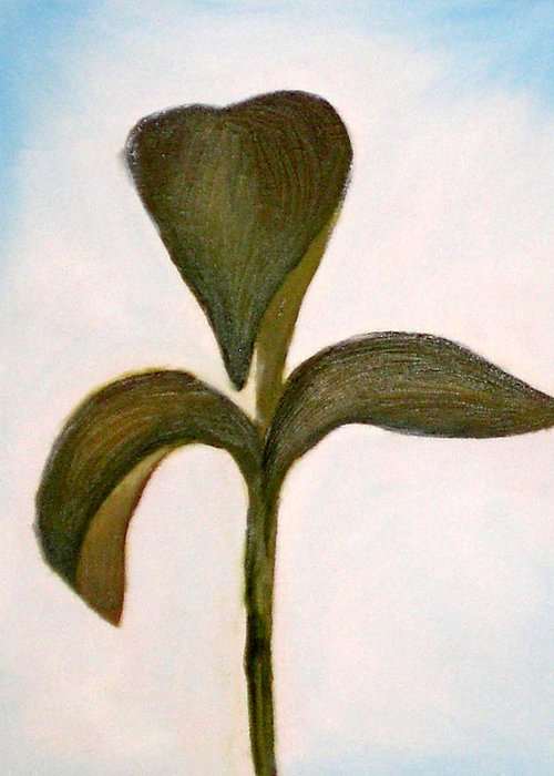 Oil Greeting Card featuring the painting Medium Sprout by Kristen Cothron
