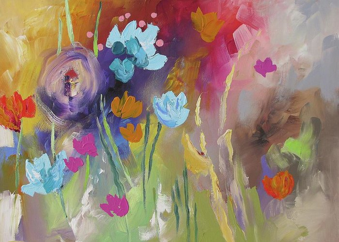 Original Greeting Card featuring the painting Meet Me In The Garden by Linda Monfort