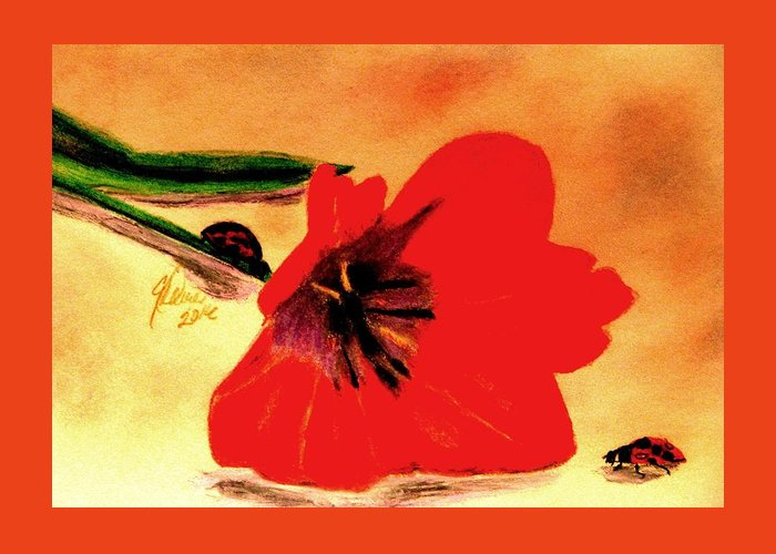 Red Tulips Greeting Card featuring the drawing Meet Me In The Tulips by Angela Davies