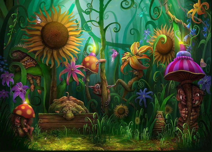 Enchanted Forest Greeting Card featuring the painting Meet The Imaginaries by Philip Straub