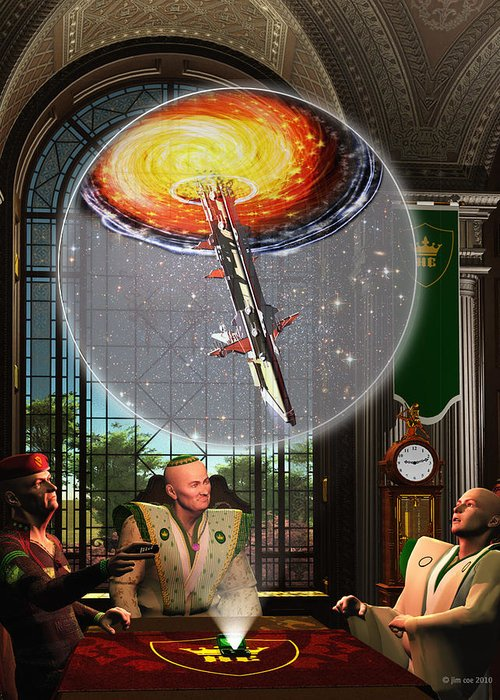 Jim Coe Greeting Card featuring the digital art Meeting At The Papal Residence by Jim Coe