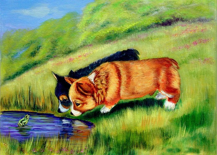 Pembroke Welsh Corgi Greeting Card featuring the painting Meeting Mr. Frog Corgi Pups by Lyn Cook