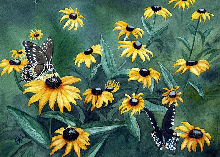 Butterflies Greeting Card featuring the painting Meeting Place by Julie Pflanzer
