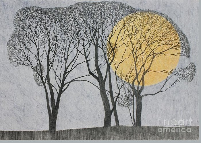 Landscape; Trees; Winter; Scenic; Moon; Full Moon; Twilight Greeting Card featuring the drawing Megamoon by Ann Brain