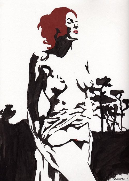 Greeting Card featuring the drawing Megan - Sunlight by Stephen Panoushek