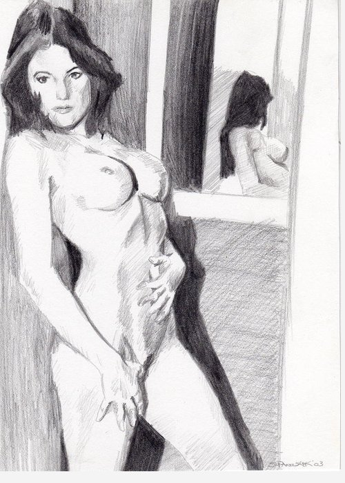 Nude Greeting Card featuring the drawing Megan-mirror by Stephen Panoushek