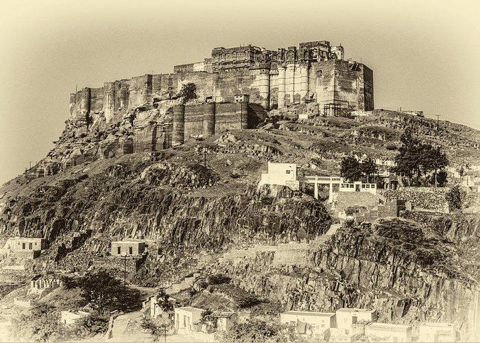 Mehrangarh Fort Greeting Card featuring the photograph Mehrangarh Fort Sepia by Steve Harrington
