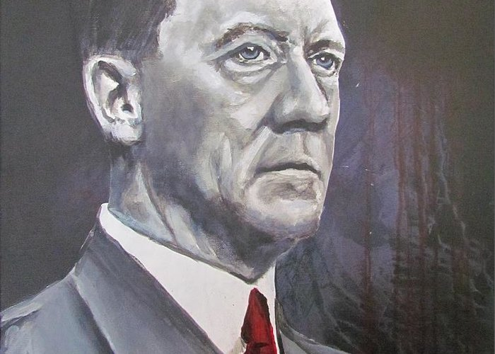 Mein Kampf Greeting Card featuring the painting Mein Schnurrbart by Eric Dee