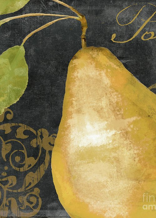 Pear Greeting Card featuring the painting Melange French Yellow Pear by Mindy Sommers