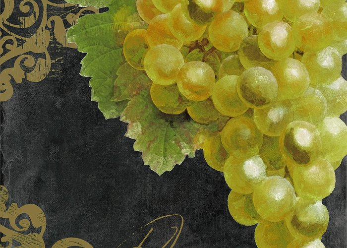 Grapes Greeting Card featuring the painting Melange Green Grapes by Mindy Sommers