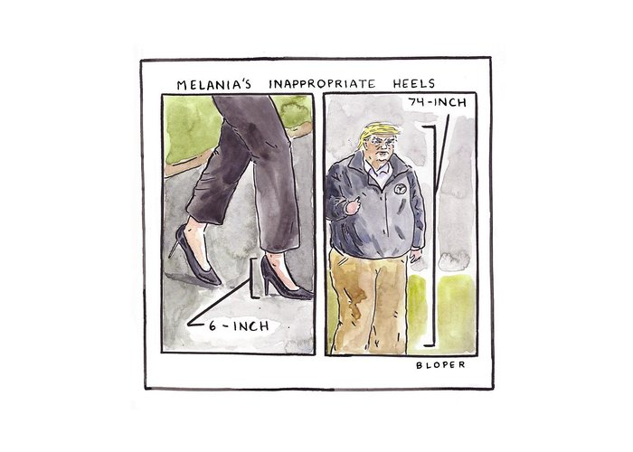 Melania Trump's Inappropriate Heels - 6 Inch Greeting Card featuring the drawing Melania's Inappropriate Heels by Brendan Loper