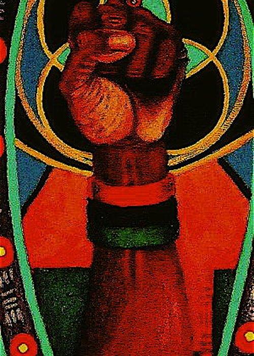 Fist Greeting Card featuring the painting Melanin Power by Malik Seneferu