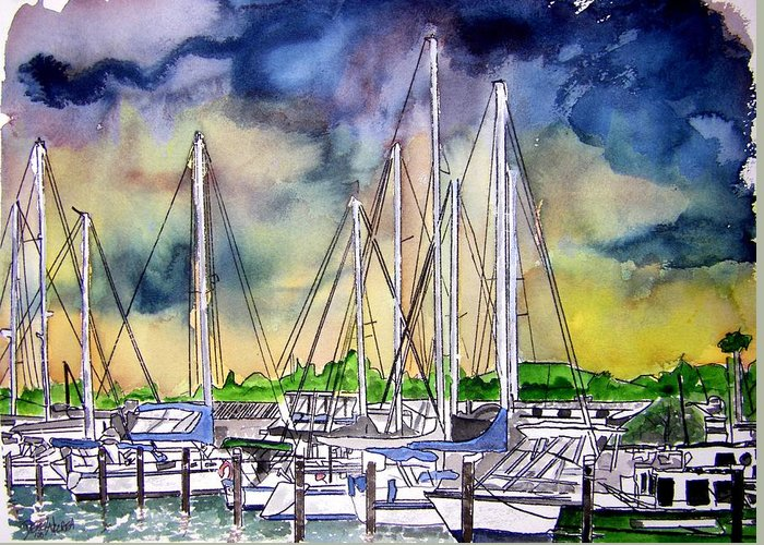 Boat Greeting Card featuring the digital art Melbourne Florida Marina by Derek Mccrea