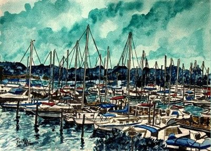Sailboat Greeting Card featuring the painting Melbourne Florida Sailing Marina by Derek Mccrea