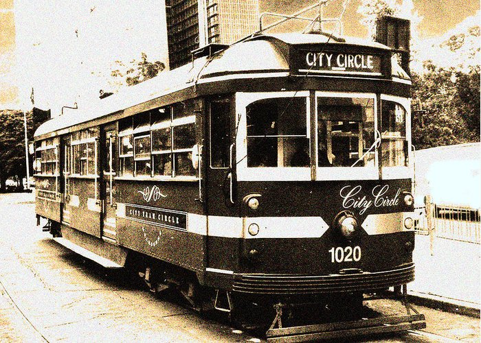 Sepia Greeting Card featuring the photograph Melbourne Tram by Darren Stein
