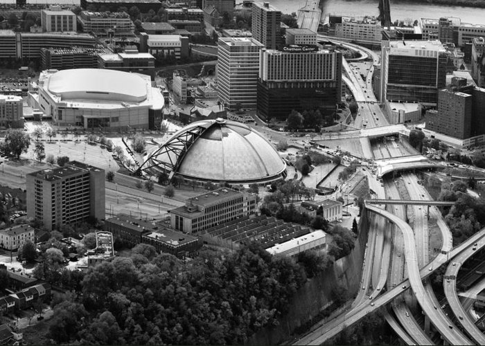 Aerial Photography Greeting Card featuring the photograph Mellon Arena by Emmanuel Panagiotakis