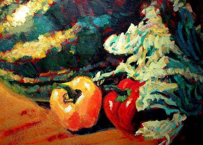Still Life Paintings Greeting Card featuring the painting Melon by Brian Simons
