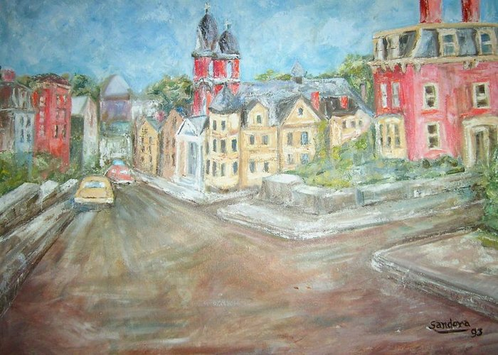 Church Buildings Street Greeting Card featuring the painting Melon Street by Joseph Sandora Jr