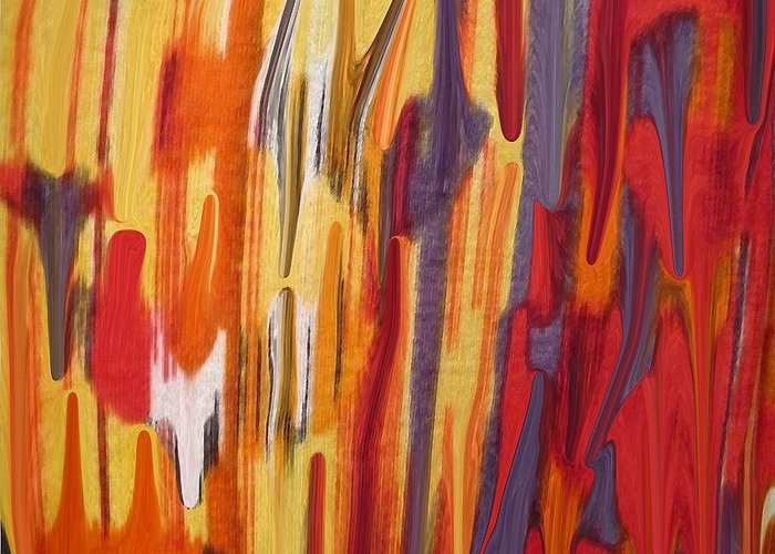 Abstract Greeting Card featuring the painting Melting Pot by Florene Welebny