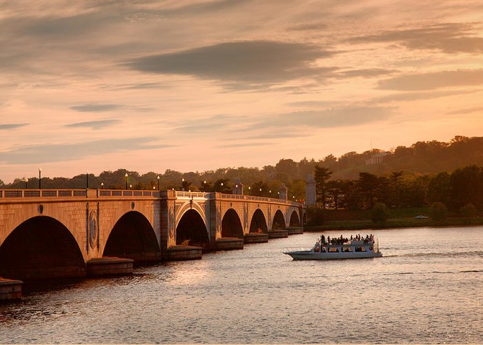 Sunset Greeting Card featuring the photograph Memorial Bridge II by Steven Ainsworth