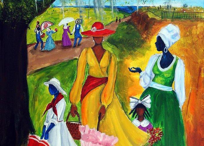 Gullah Greeting Card featuring the painting Memorial Day by Diane Britton Dunham