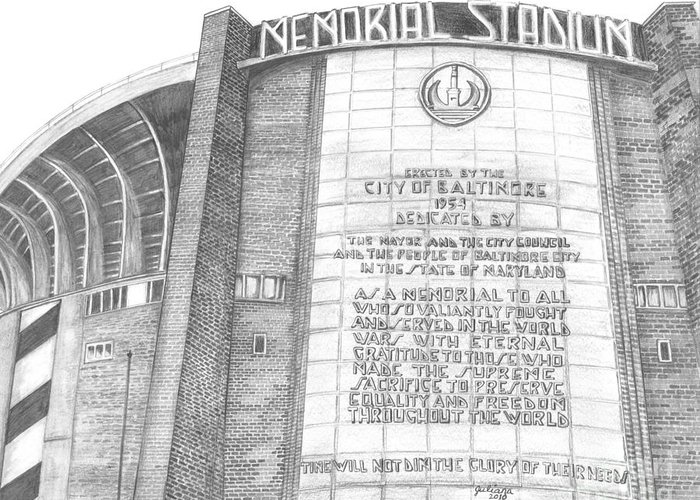 Baltimore Orieols Stadium Greeting Card featuring the drawing Memorial Stadium by Juliana Dube