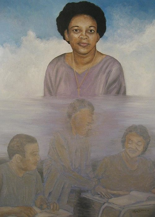 Portrait Greeting Card featuring the painting Memorial To Ms. Calvin by Angelo Thomas