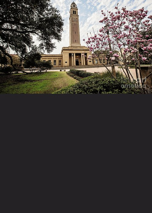 Lsu Greeting Card featuring the photograph Memorial Tower by Scott Pellegrin