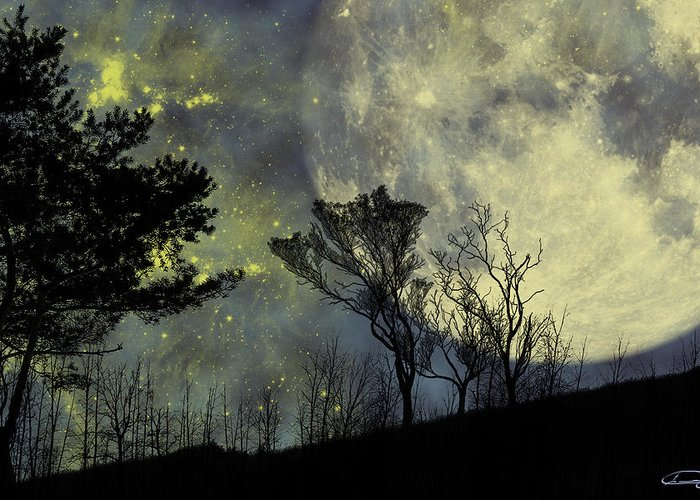 Night Greeting Card featuring the painting Memories by Emma Alvarez