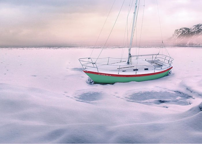 Boat Greeting Card featuring the photograph Memories Of Seasons Past - Prisoner Of Ice by John Poon