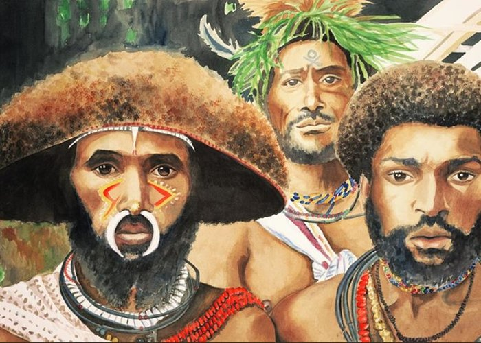 Men From New Guinea Greeting Card featuring the painting Men From New Guinea by Judy Swerlick