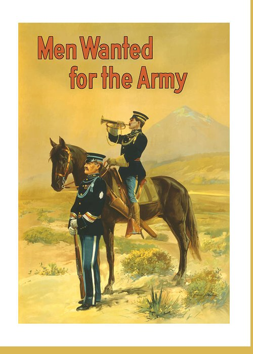 Army Greeting Card featuring the painting Men Wanted For The Army by War Is Hell Store