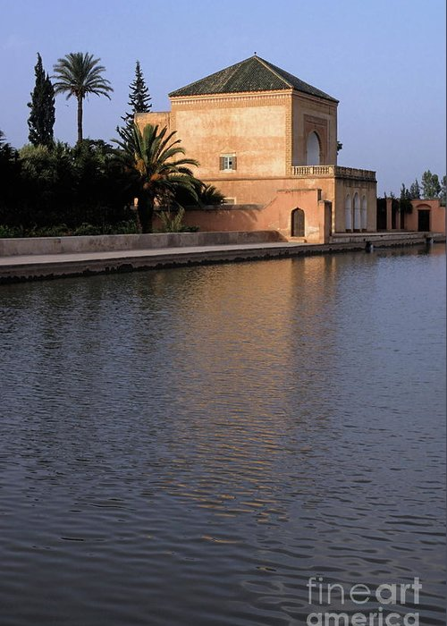 Tranquil Scene Greeting Card featuring the photograph Menara Pavilion In Marrakech by Sami Sarkis