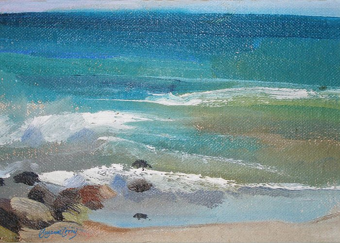 Mendocino Greeting Card featuring the painting Mendocino Coast-ocean View by Suzanne Cerny