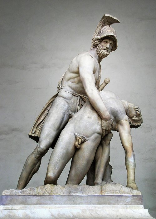 Italy Greeting Card featuring the photograph Menelaus And Patroclus Sculpture by Artecco Fine Art Photography