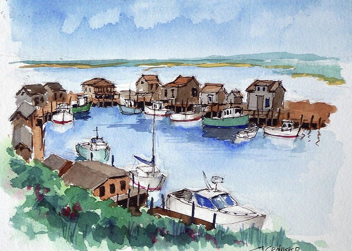 Marine Greeting Card featuring the painting Menemsha Safe Haven by John Crowther