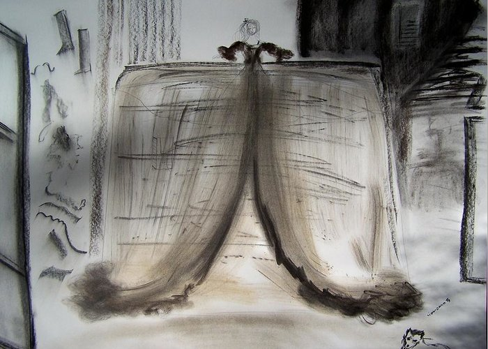 Charcoal Greeting Card featuring the drawing Meninas Castle by Geraldine Liquidano