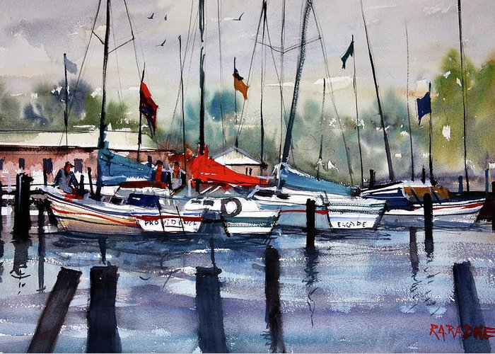 Ryan Radke Greeting Card featuring the painting Menominee Marina by Ryan Radke