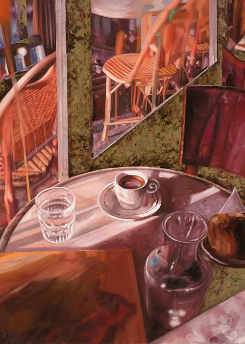 Caffe Greeting Card featuring the painting Mentre Ti Aspetto by Guido Borelli
