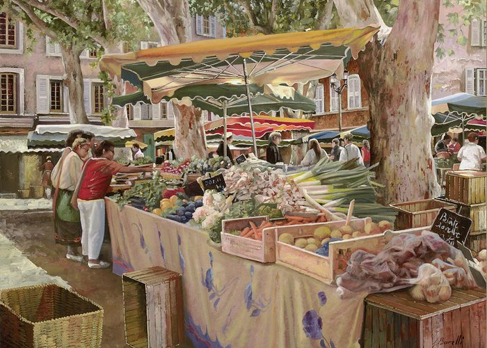 Market Greeting Card featuring the painting Mercato Provenzale by Guido Borelli