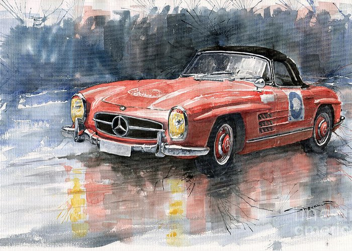 Auto Greeting Card featuring the painting Mercedes Benz 300sl by Yuriy Shevchuk
