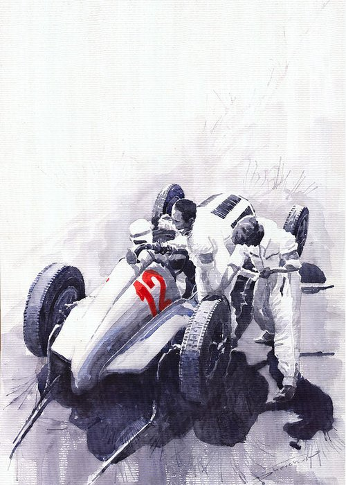 Automotive Greeting Card featuring the painting Mercedes Benz W125 Rudolf Caracciola The German Grand Prix Nurburgring 1937 by Yuriy Shevchuk