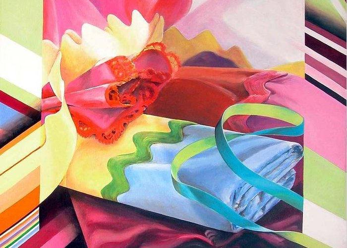 Still Life Greeting Card featuring the painting Mercerie by Muriel Dolemieux