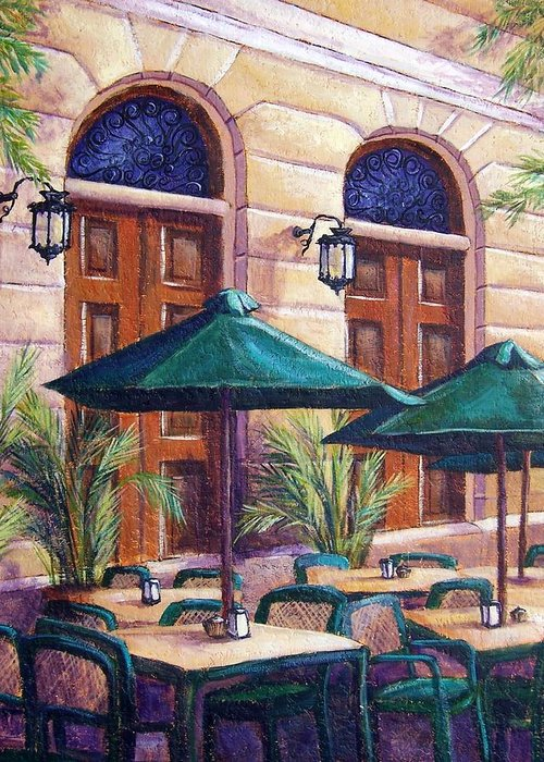 Cityscape Greeting Card featuring the painting Merida Cafe by Candy Mayer